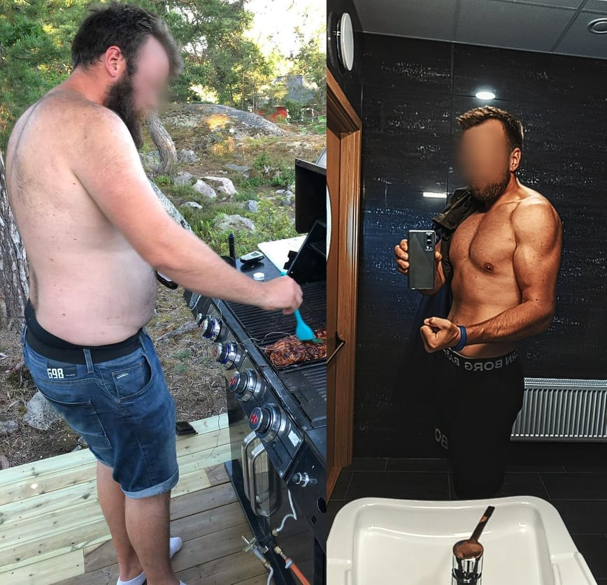 60 lbs Fat Loss Before and After 6'4 Male 275 lbs to 215 lbs