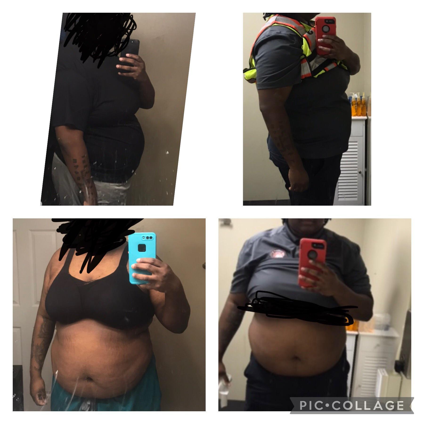 9 lbs Fat Loss 6 feet 1 Female 328 lbs to 319 lbs