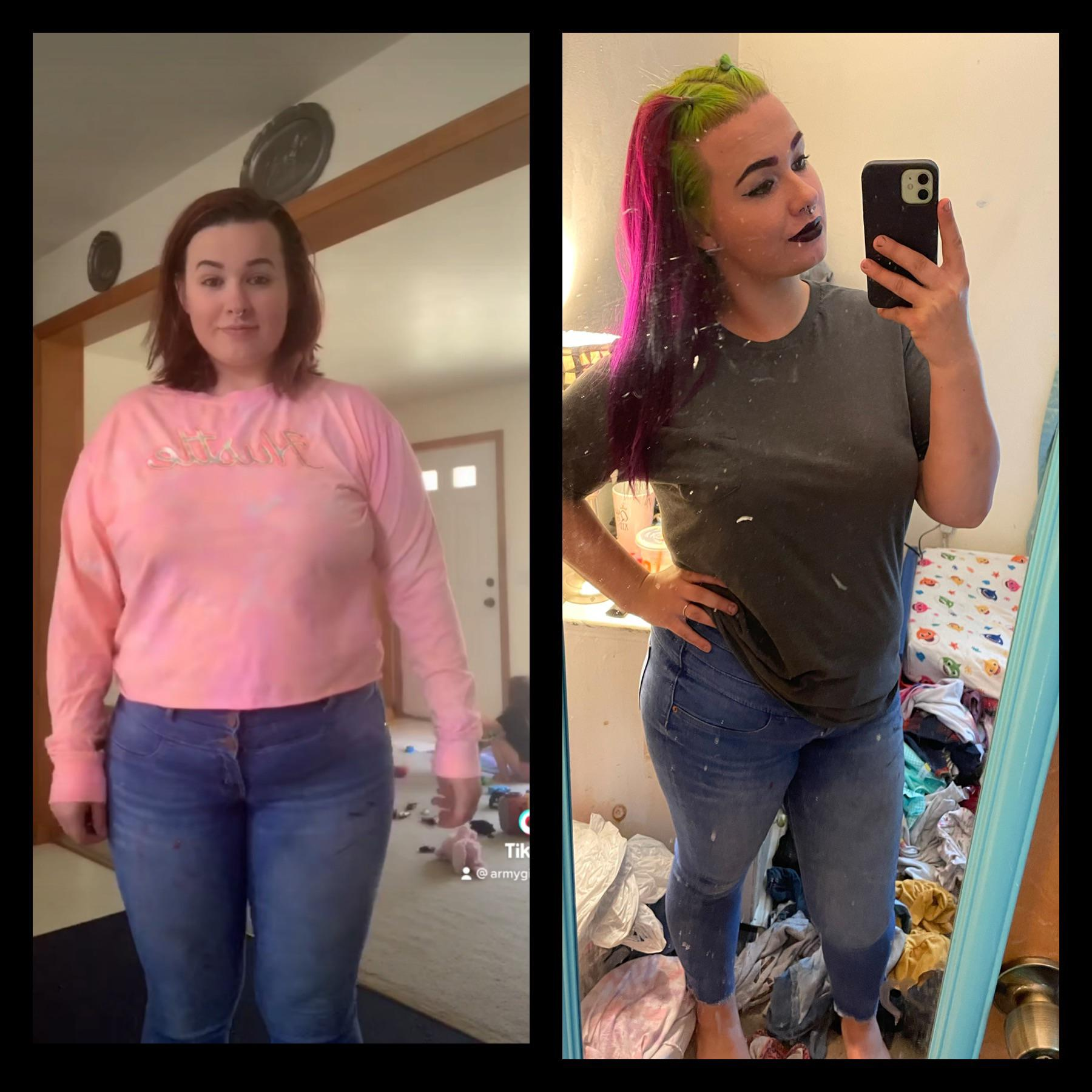 5'4 Female Before and After 28 lbs Fat Loss 218 lbs to 190 lbs