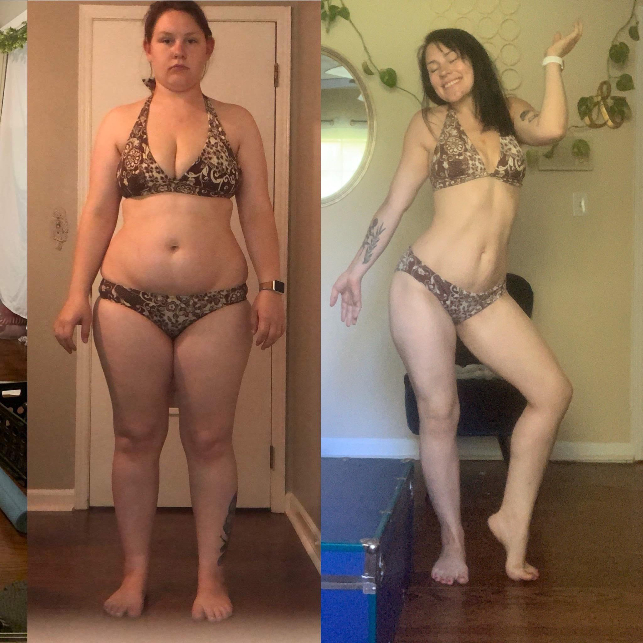 Before and After 85 lbs Fat Loss 5'3 Female 220 lbs to 135 lbs