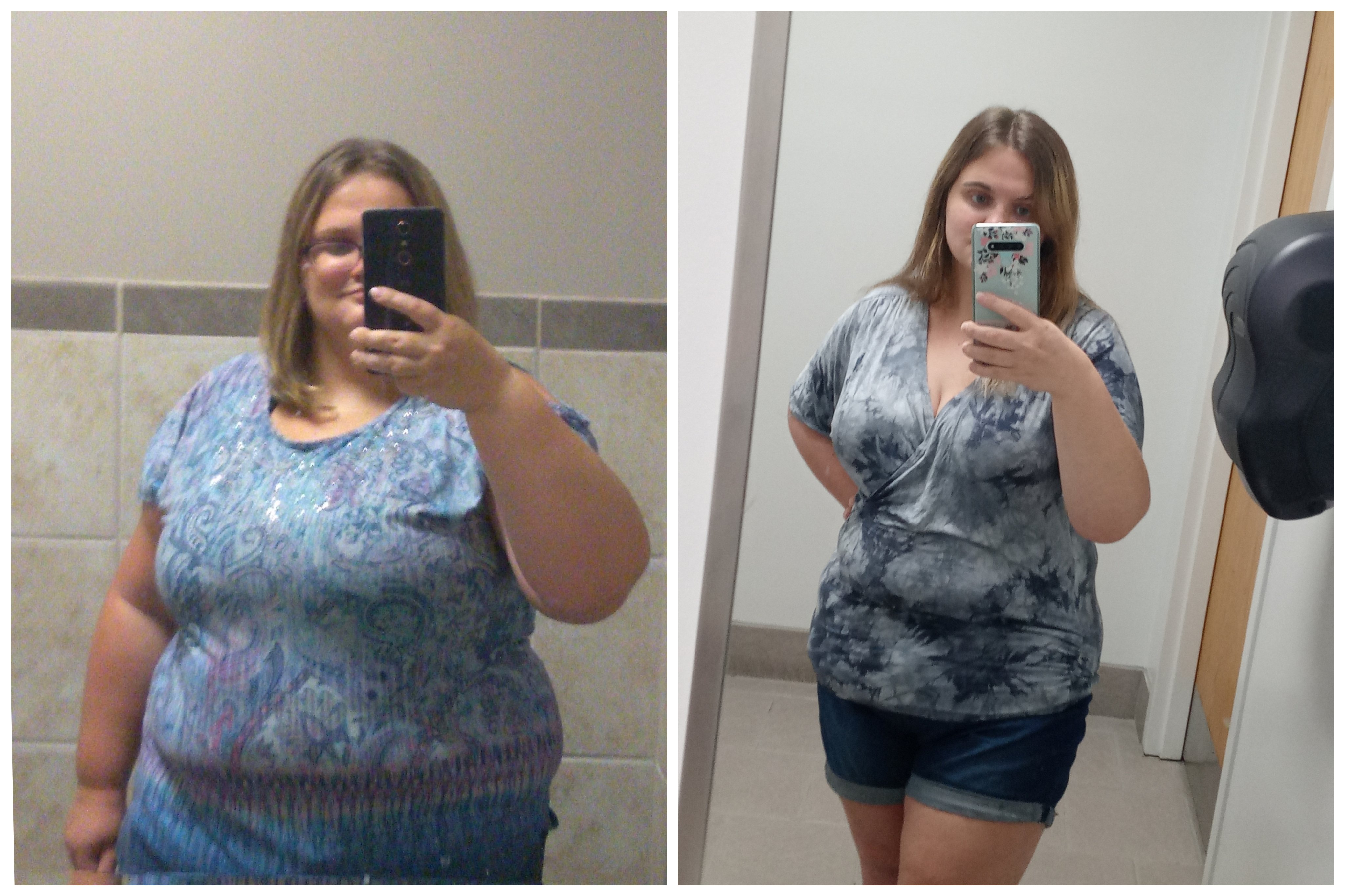 Before and After 90 lbs Weight Loss 5'3 Female 295 lbs to 205 lbs