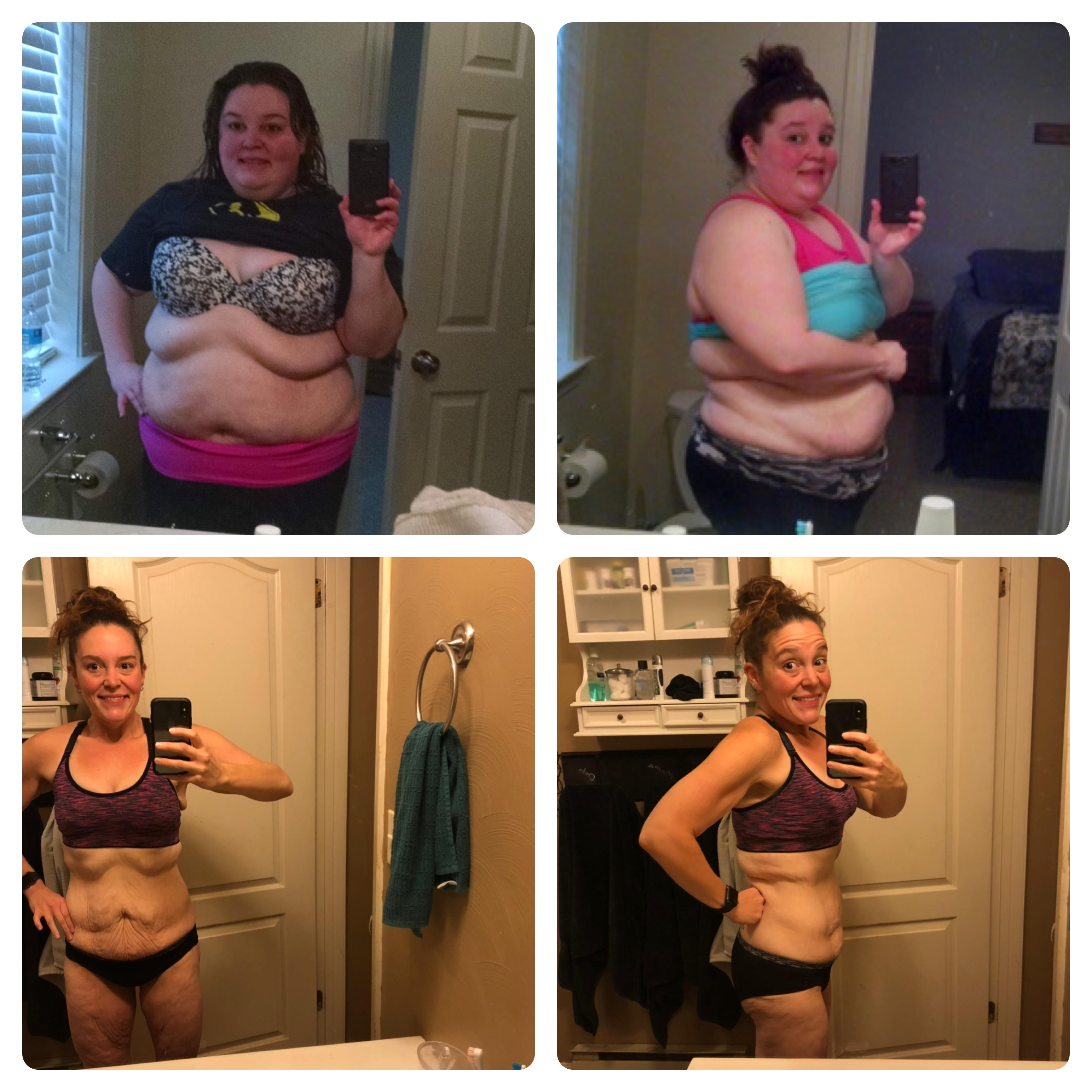 Before and After 167 lbs Fat Loss 5 foot 5 Female 305 lbs to 138 lbs