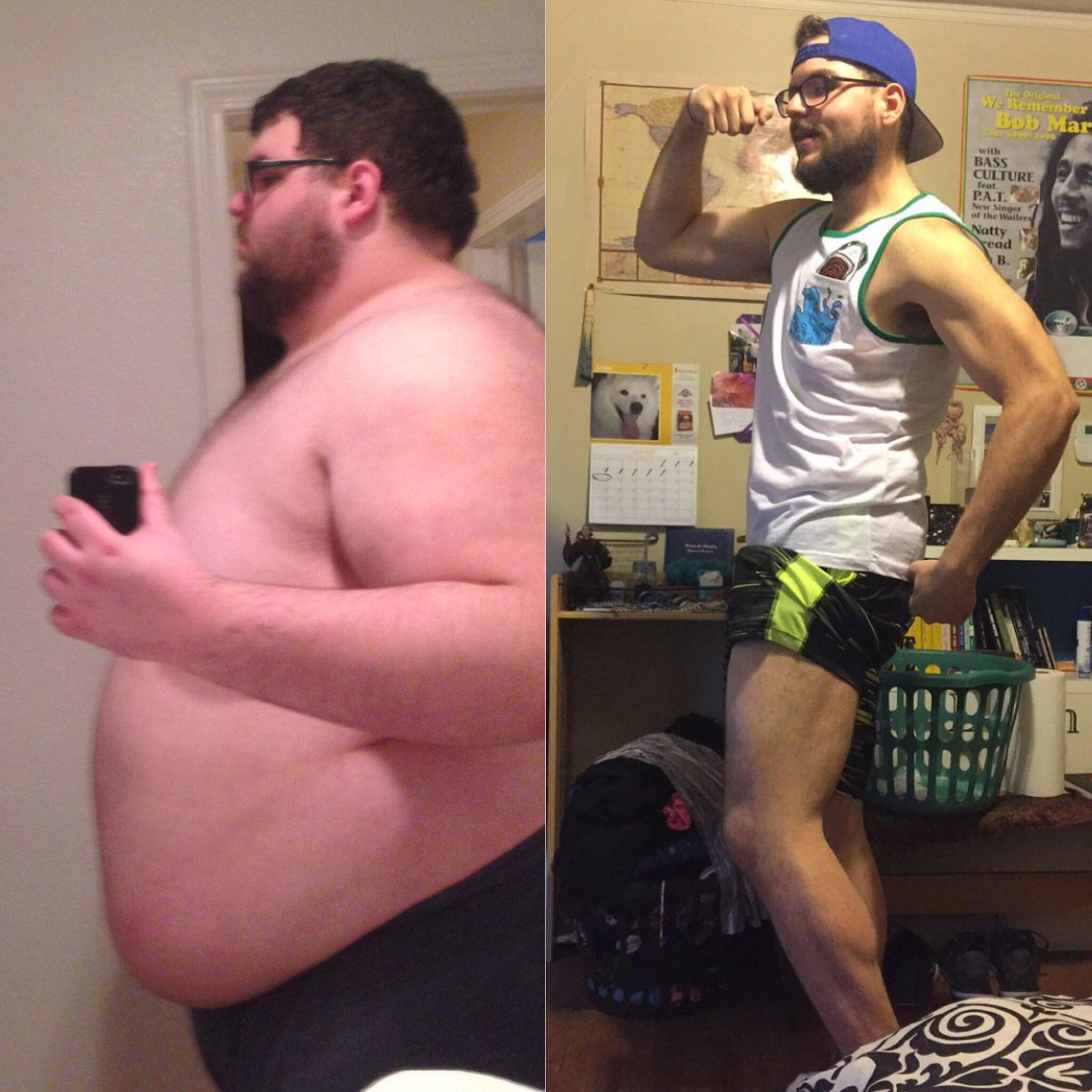 223 lbs Fat Loss Before and After 6'2 Male 440 lbs to 217 lbs