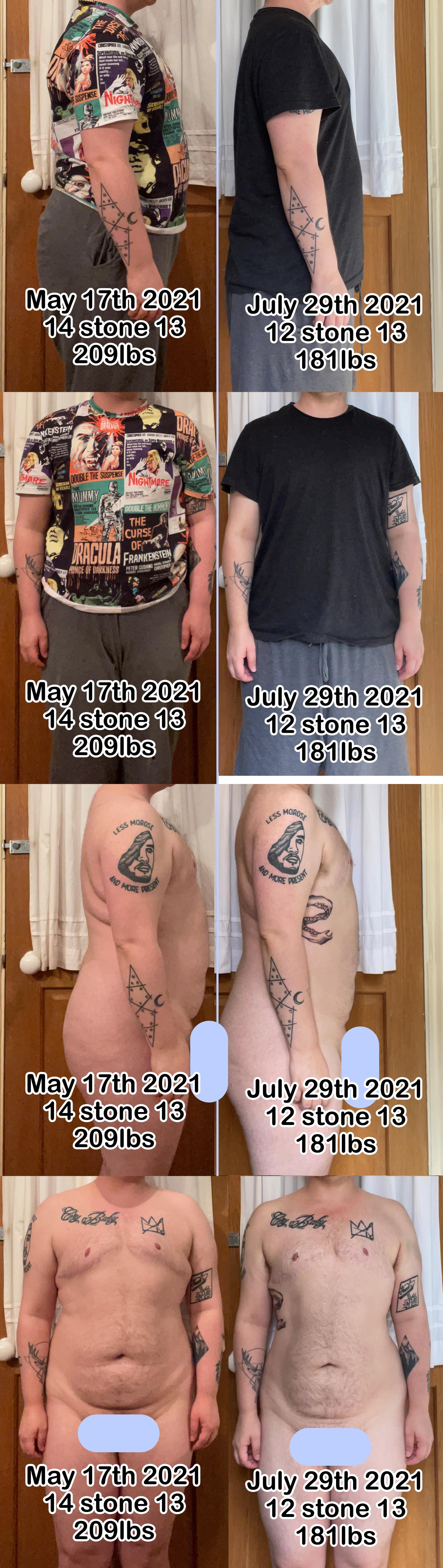 5 feet 5 Male Progress Pics of 28 lbs Weight Loss 209 lbs to 181 lbs