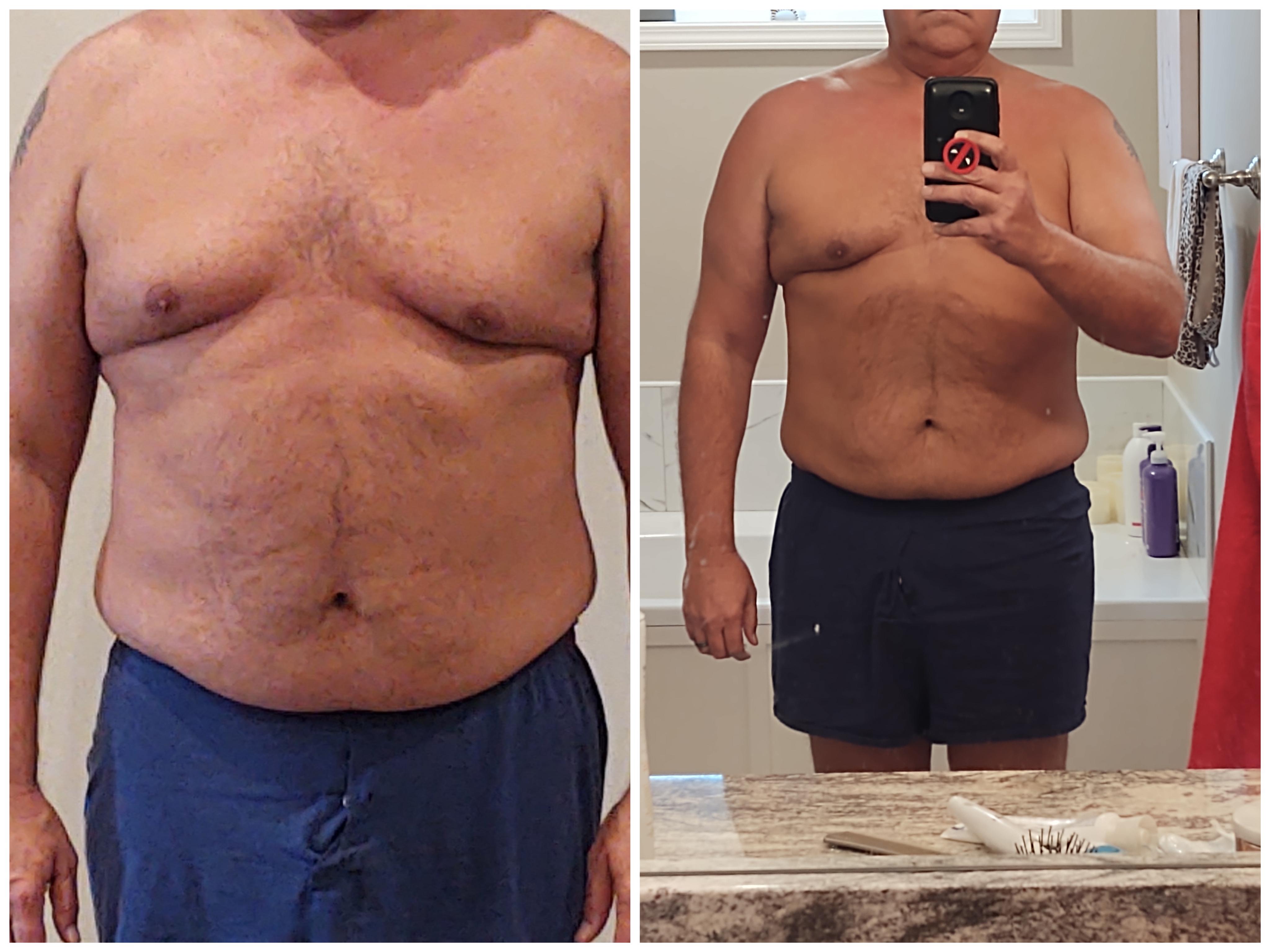 18 lbs Weight Loss 6 foot Male 262 lbs to 244 lbs