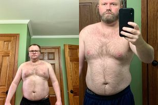 Before and After 30 lbs Fat Loss 5 foot 6 Male 220 lbs to 190 lbs