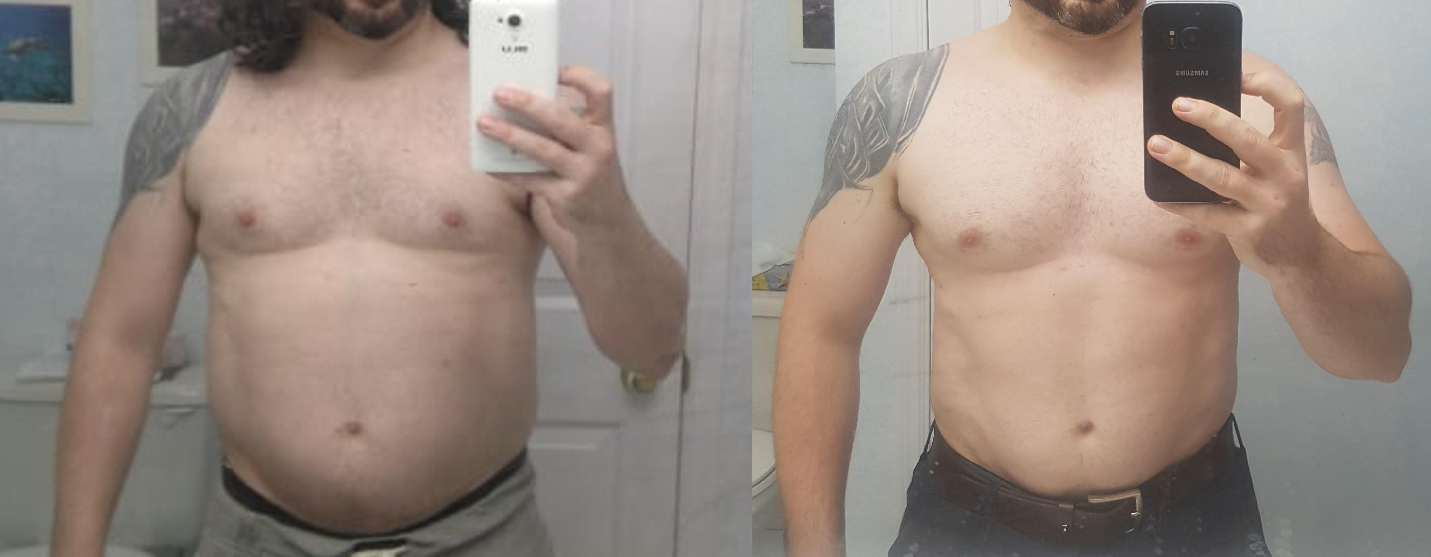 5 feet 6 Male Before and After 16 lbs Weight Loss 207 lbs to 191 lbs