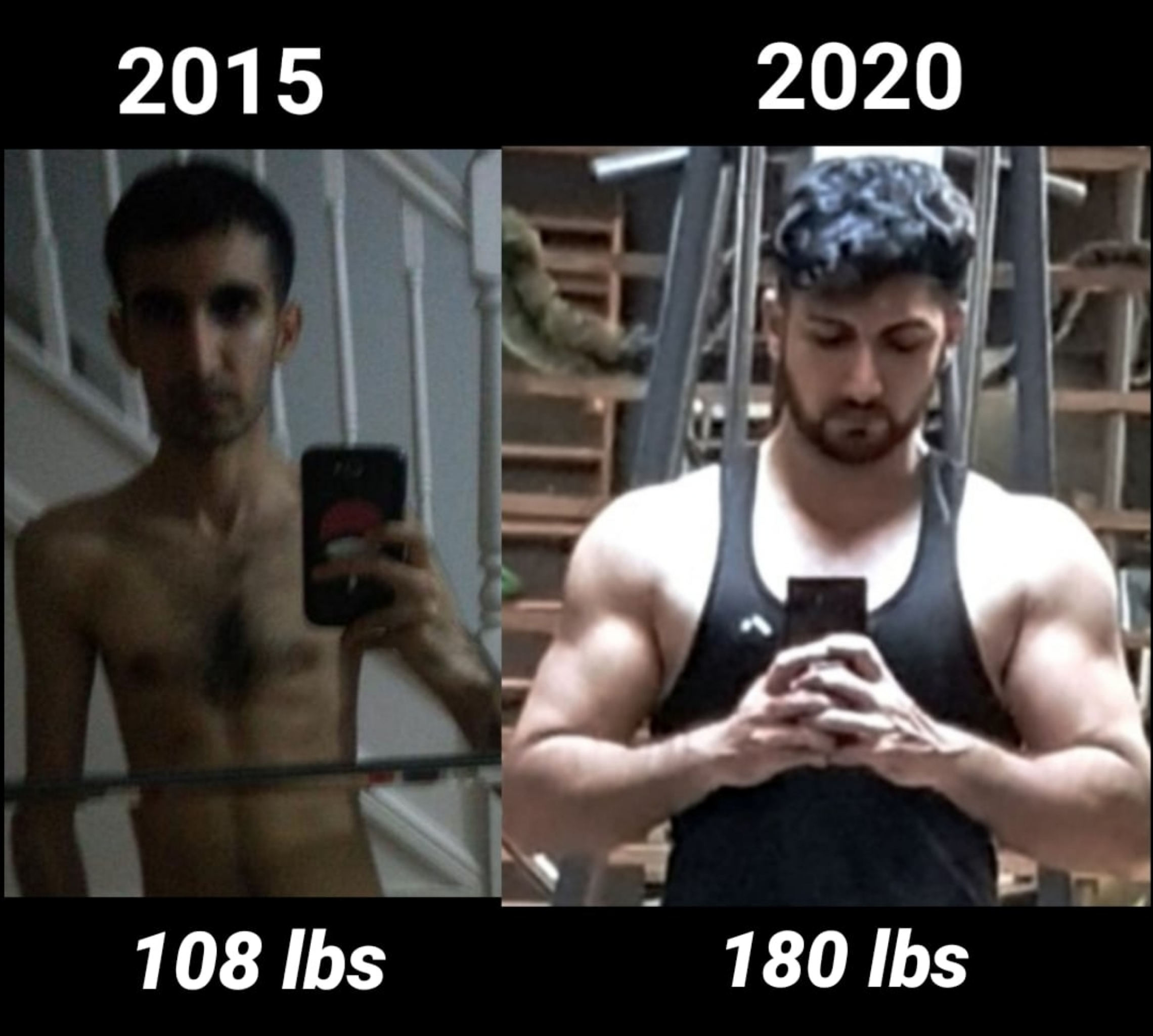 72 lbs Weight Gain Before and After 5 foot 10 Male 108 lbs to 180 lbs