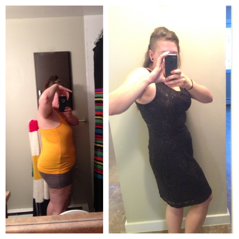Before and After 46 lbs Fat Loss 5 feet 3 Female 210 lbs to 164 lbs
