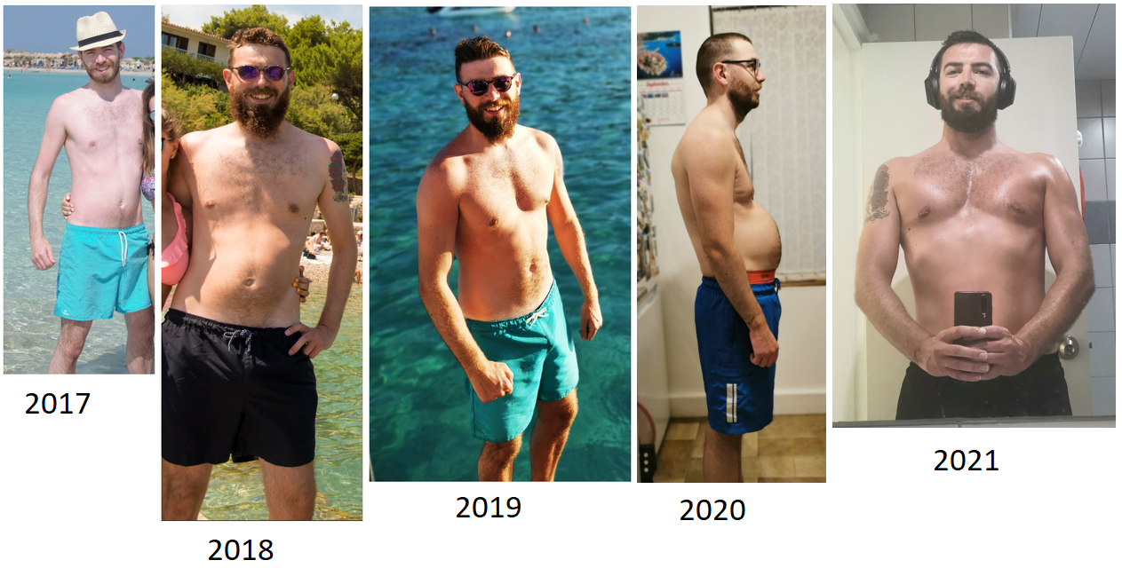36 lbs Weight Gain Before and After 6 foot Male 154 lbs to 190 lbs