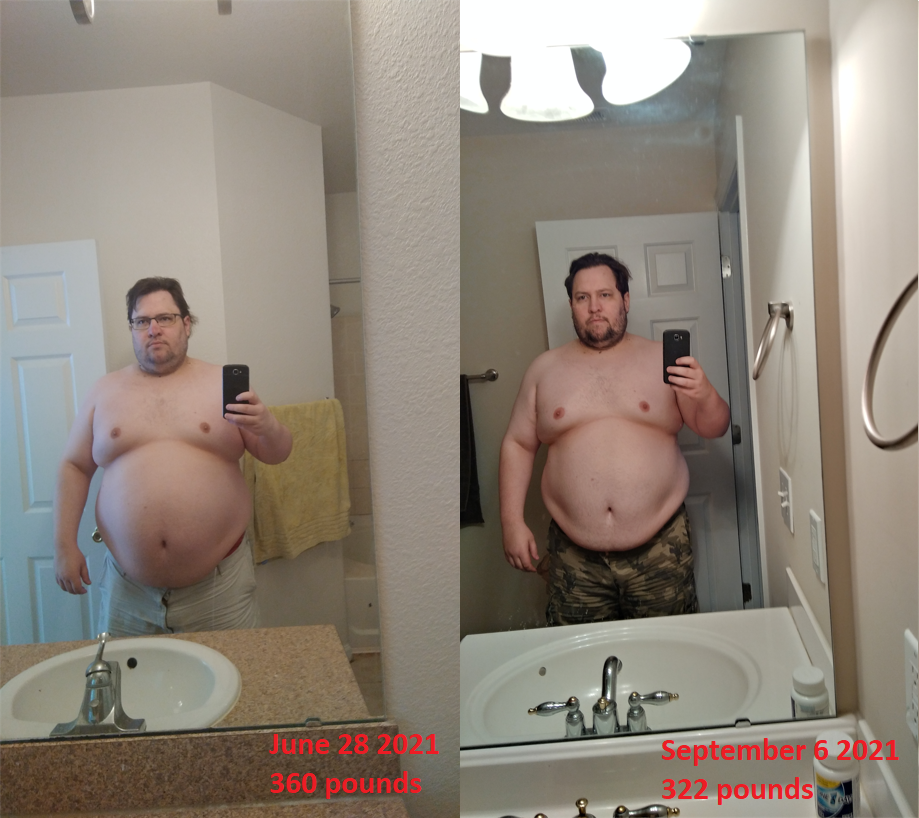 5 feet 10 Male 38 lbs Fat Loss Before and After 360 lbs to 322 lbs