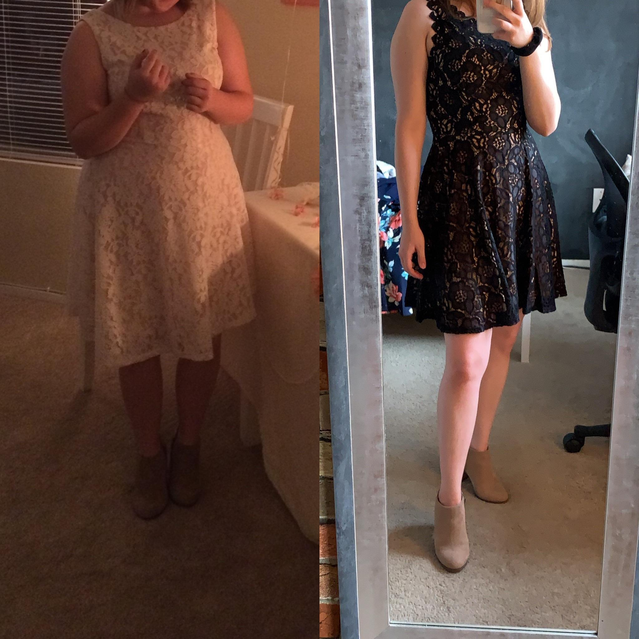 Before and After 42 lbs Weight Loss 5 foot Female 152 lbs to 110 lbs