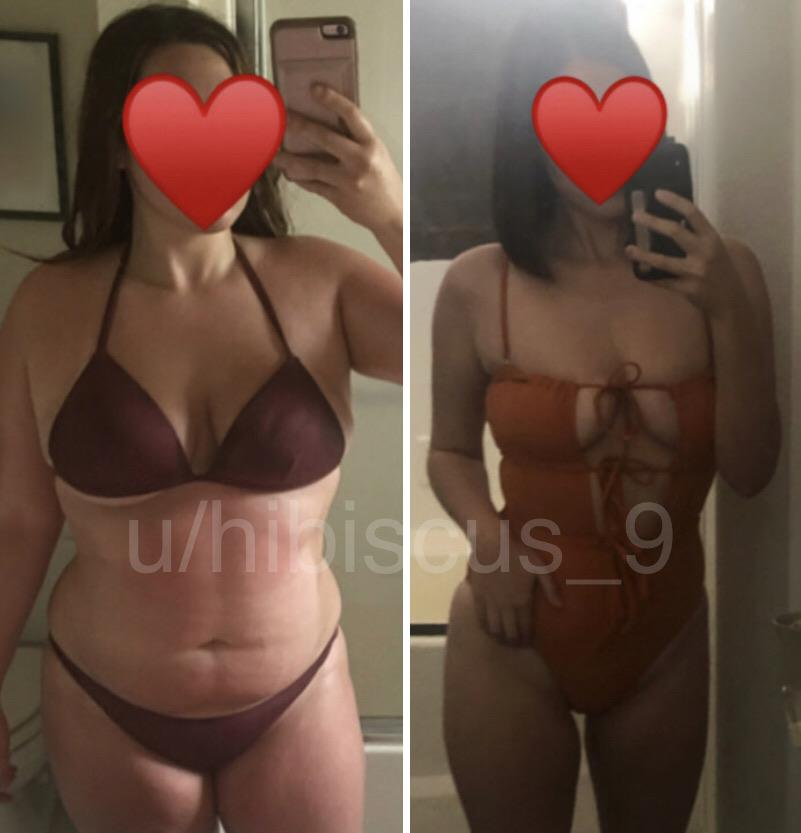 Before and After 75 lbs Weight Loss 5 feet 7 Female 217 lbs to 142 lbs