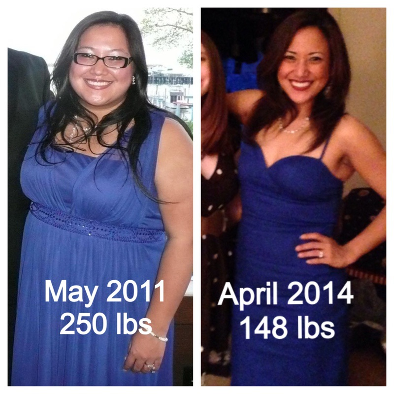 102 lbs Fat Loss 5 feet 6 Female 250 lbs to 148 lbs