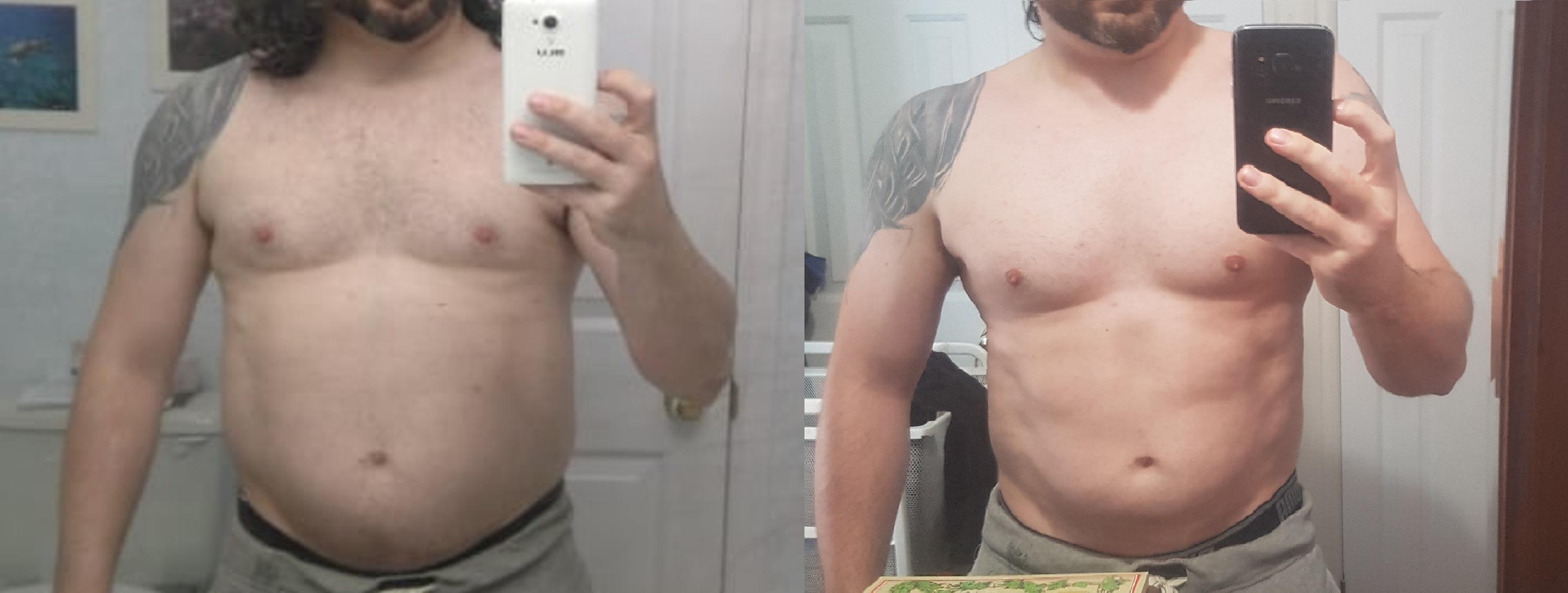 15 lbs Weight Loss Before and After 5 foot 7 Male 203 lbs to 188 lbs