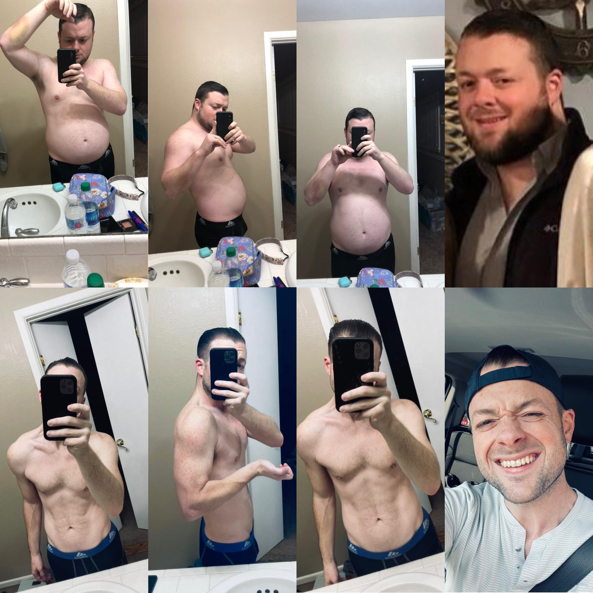 5 foot 9 Male Before and After 80 lbs Fat Loss 225 lbs to 145 lbs