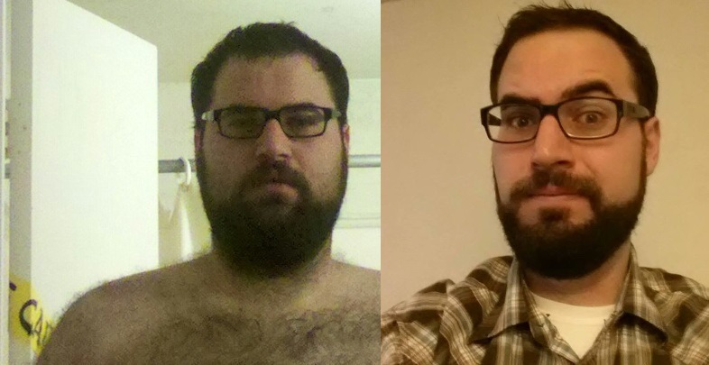 Before and After 77 lbs Fat Loss 6'3 Male 294 lbs to 217 lbs