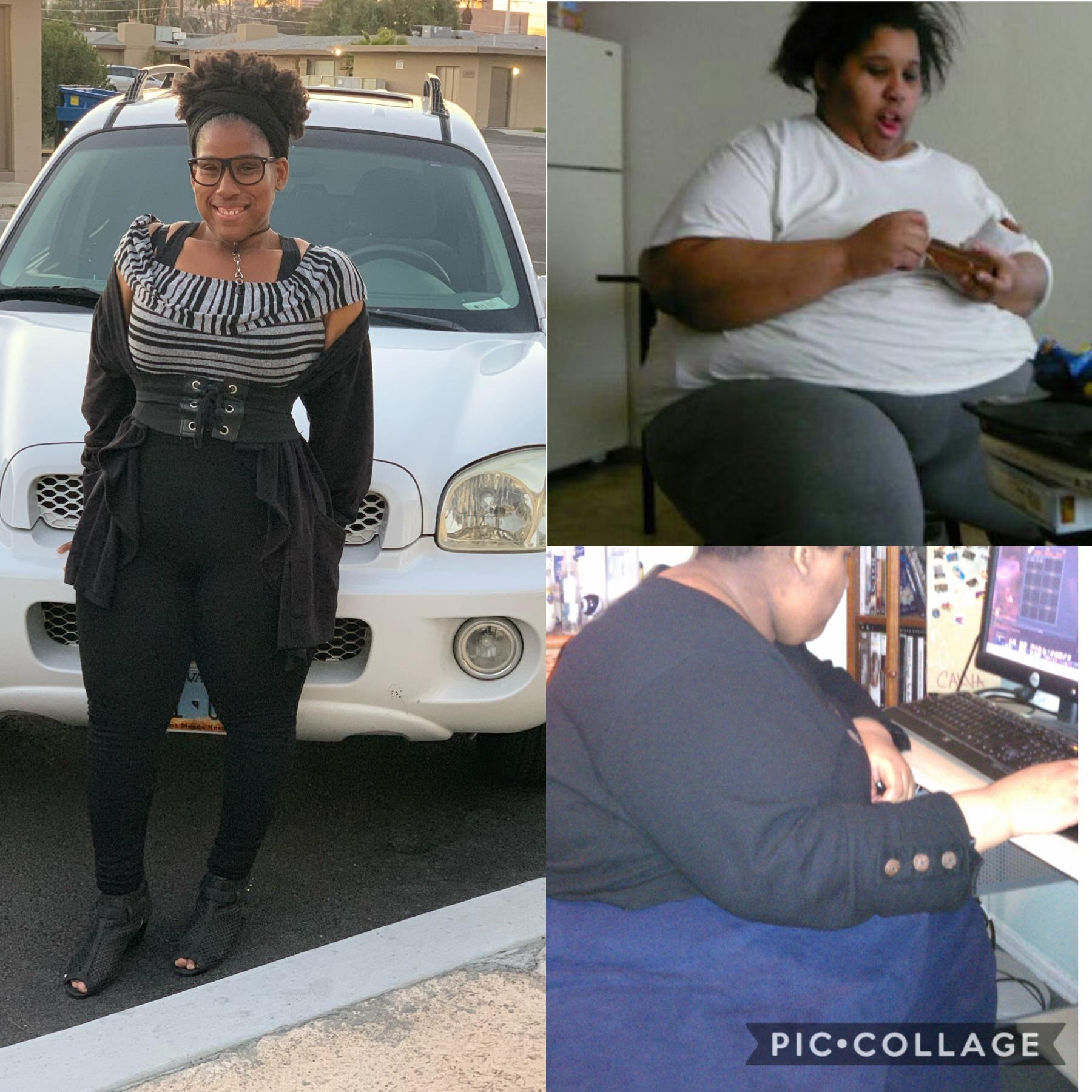 Before and After 270 lbs Fat Loss 5 feet 5 Female 480 lbs to 210 lbs