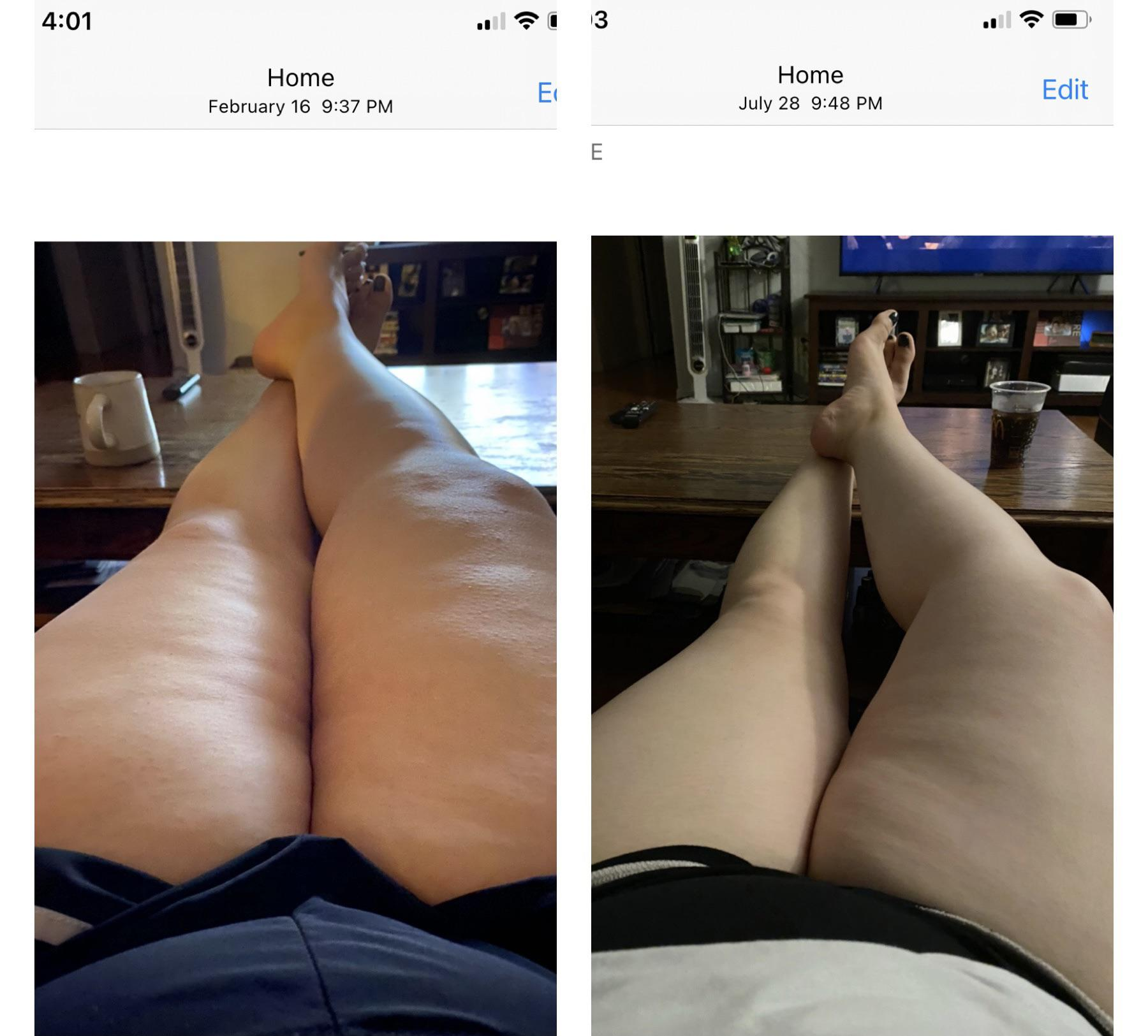 Before and After 36 lbs Fat Loss 5'6 Female 247 lbs to 211 lbs