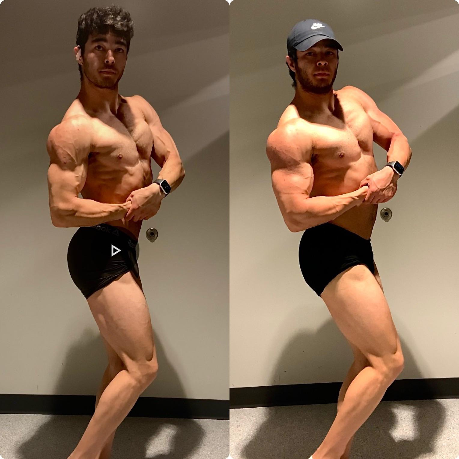 20 lbs Muscle Gain Before and After 5 foot 10 Male 165 lbs to 185 lbs