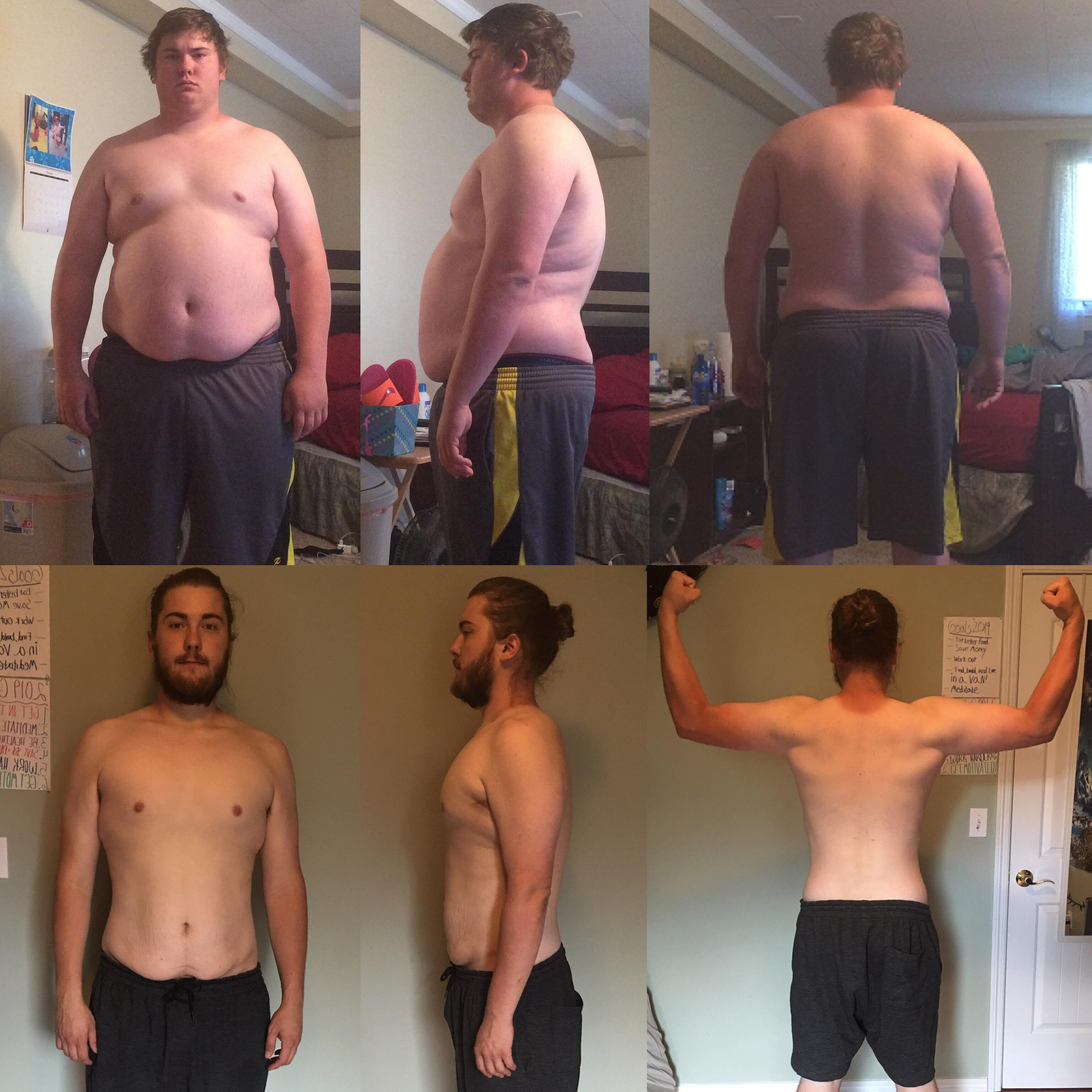6 foot Male Before and After 100 lbs Fat Loss 310 lbs to 210 lbs