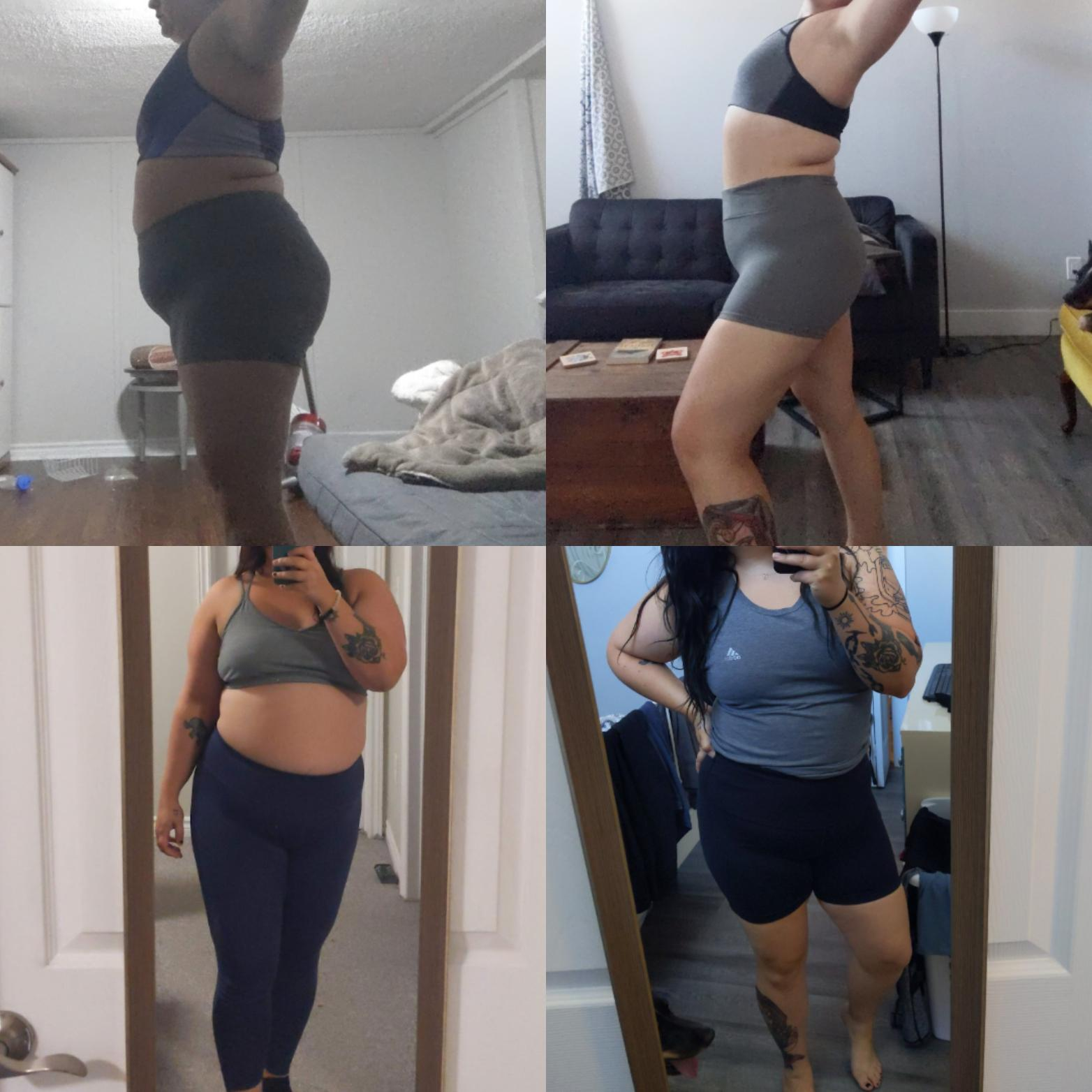 5 foot 4 Female Before and After 68 lbs Weight Loss 265 lbs to 197 lbs