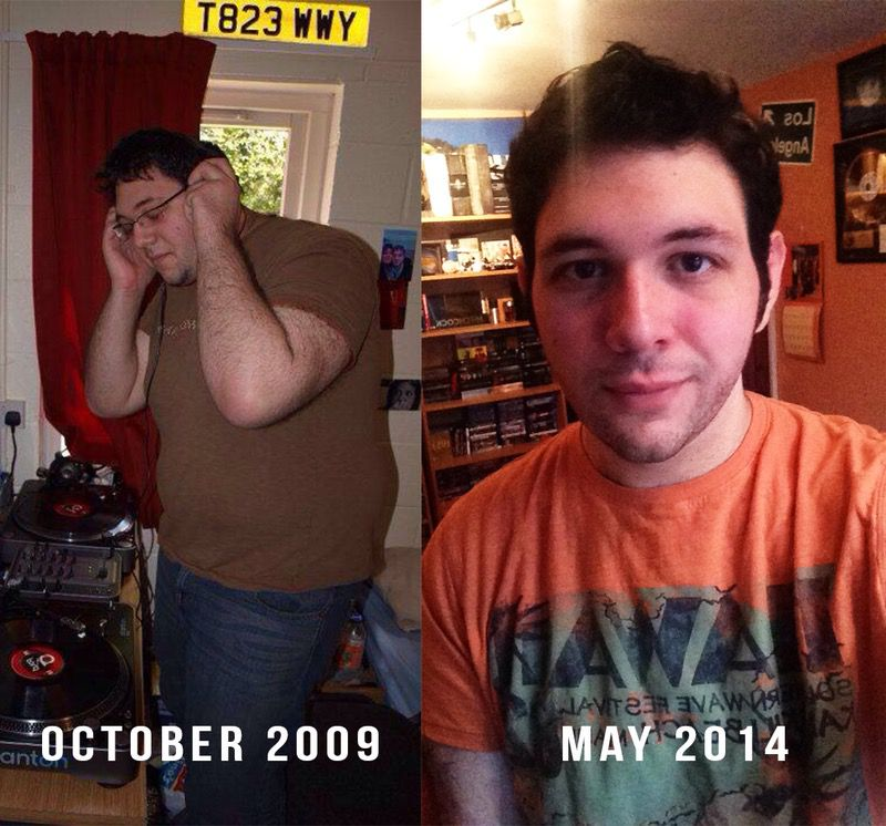 6 feet 3 Male Before and After 120 lbs Fat Loss 330 lbs to 210 lbs