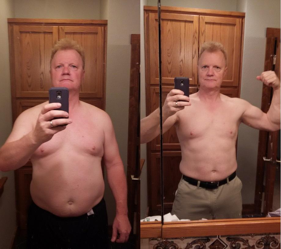 Before and After 50 lbs Fat Loss 5 feet 11 Male 245 lbs to 195 lbs