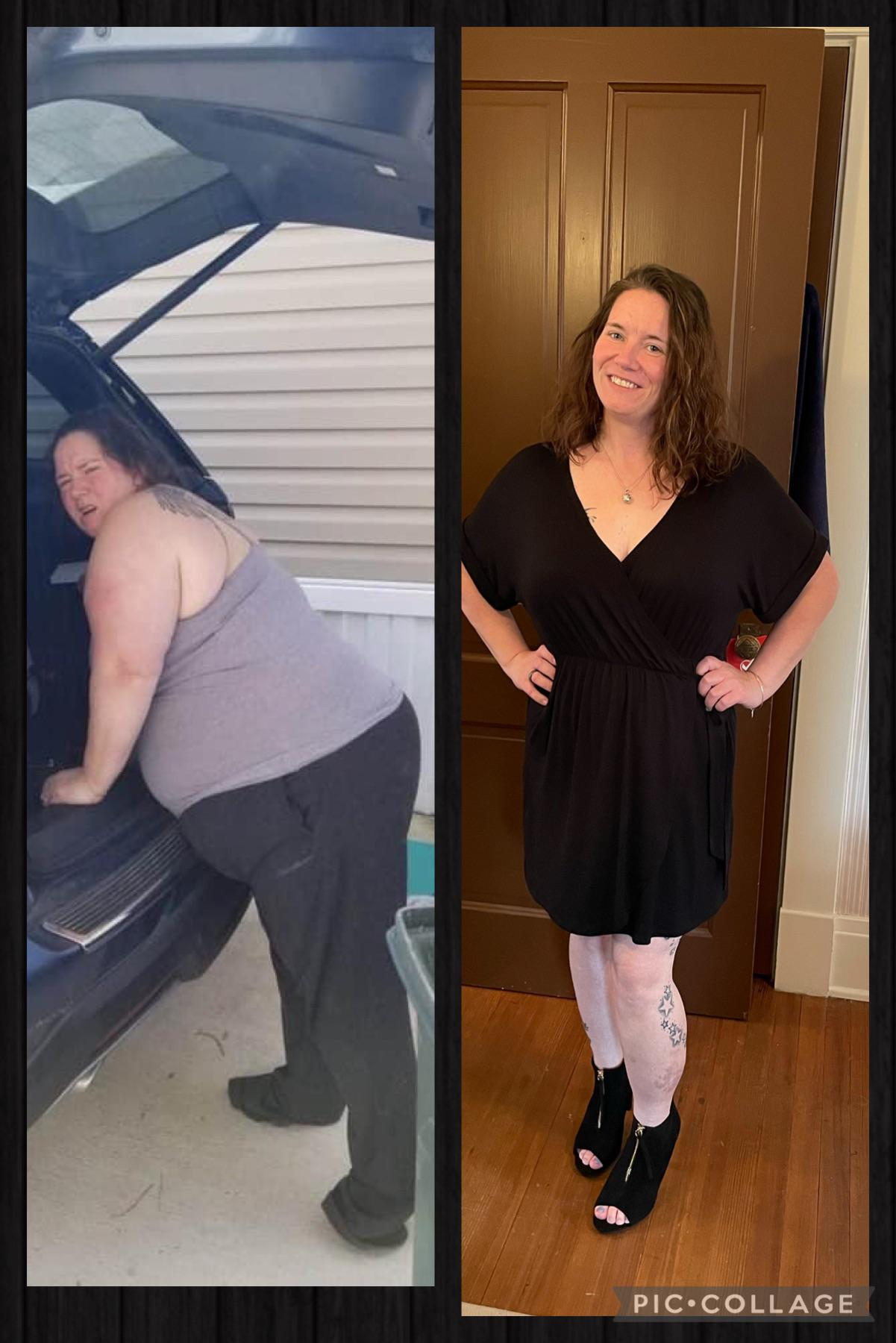 151 lbs Fat Loss Before and After 5 feet 3 Female 301 lbs to 150 lbs