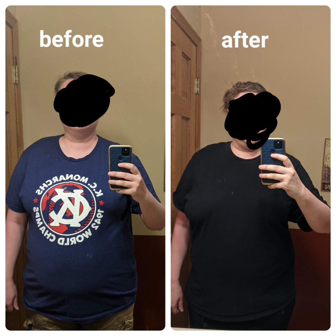 21 lbs Weight Loss Before and After 5 feet 10 Female 251 lbs to 230 lbs